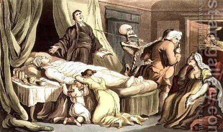 No Scene so Blest in Virtues Eyes-As when the Man of Virtue Dies, from the English Dance of Death pub. by Rudolph Ackermann 1764-1834 1814 by (after) Rowlandson, Thomas - Reproduction Oil Painting