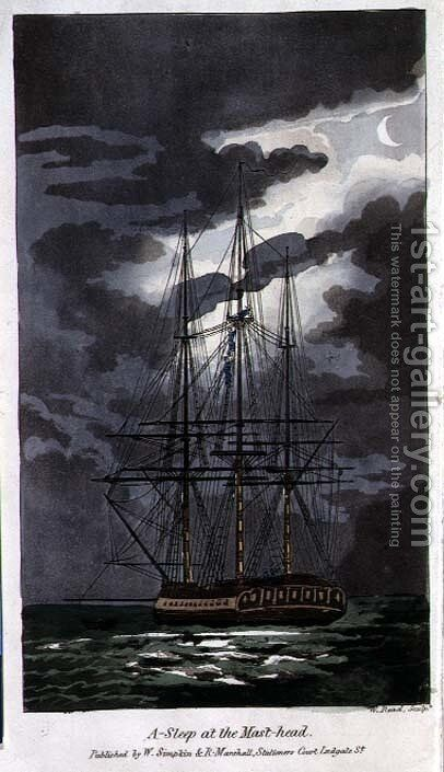 Asleep at the Mast-Head, plate from The Adventures of Johnny Newcome in the Navy by John Mitford 1782-1831 engraved by W. Read, 1818 by (after) Rowlandson, Thomas - Reproduction Oil Painting