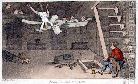 Turning in - and out again, plate from The Adventures of Johnny Newcome in the Navy by John Mitford 1782-1831 engraved by W. Read, 1818 by (after) Rowlandson, Thomas - Reproduction Oil Painting