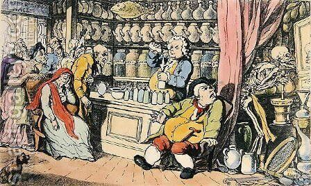 Death and the Apothecary or The Quack Doctor, illustration from The English Dance of Death, published by R. Ackermann, London 1815-17 by (after) Rowlandson, Thomas - Reproduction Oil Painting