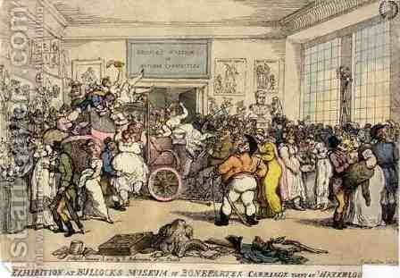 Exhibition at Bullocks Museum of Bonapartes Carriage Taken at Waterloo, pub. by Rudolph Ackermann, 1816 by Thomas Rowlandson - Reproduction Oil Painting