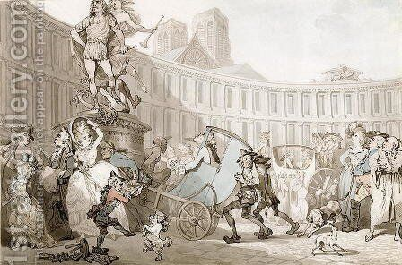 La Place des Victoires, Paris, c.1789 by Thomas Rowlandson - Reproduction Oil Painting