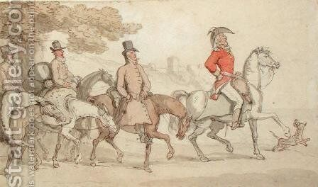 Illustrations for The Military Adventures of Johnny Newcome: 'Dashed with his suite for Santarem that night by John Mitford 1782-1831 by Thomas Rowlandson - Reproduction Oil Painting