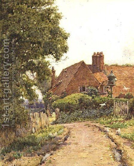 A Hampshire Farmhouse near Steep by Ernest Arthur Rowe - Reproduction Oil Painting