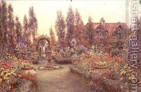 View of a Country House and Garden by Ernest Arthur Rowe - Reproduction Oil Painting