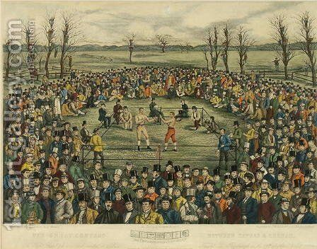 The Great Contest between Sayers and Heenan for 200 Pounds a side, engraved by J. R. Mackrell and J.B. Rowbotham by (after) Rowbotham, J.B. and Brown, J. - Reproduction Oil Painting