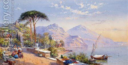 Near Naples, 1883 by Charles Rowbotham - Reproduction Oil Painting