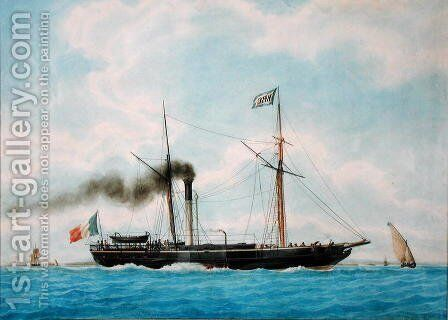Ocean, the Ship of Captain Combes the Elder by Antoine Roux - Reproduction Oil Painting