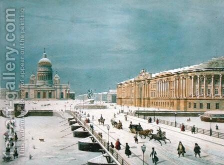 The Isaac Cathedral and the Senate Square in St Petersburg, 1840s by (after) Roussel, Paul Marie - Reproduction Oil Painting