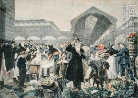 Soup Stand at Les Halles Market in the Morning, illustration from Le Petit Journal, 2nd March 1897, engraved by Fortune-Louis Meaulle 1844-1901 by (after) Rousseau, Jean Jacques - Reproduction Oil Painting