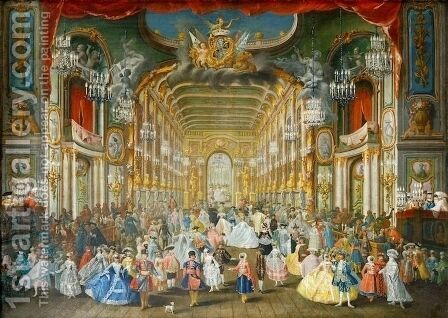 Masked Ball in the Hoftheater, Bonn, 1754 by Jakob Rousseau - Reproduction Oil Painting