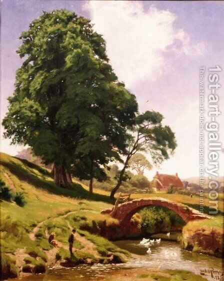 Ducks Below the Bridge by Cecil M. Round - Reproduction Oil Painting