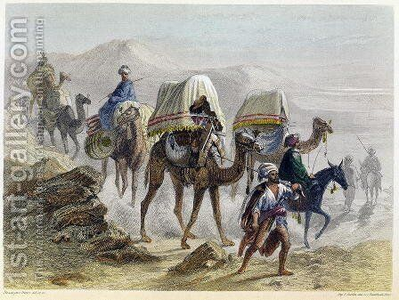 The Camel Train, from Constantinople and the Black Sea, engraved by the Rouargue brothers, 1855 by Adolphe Rouergue and Emile Rouergue - Reproduction Oil Painting