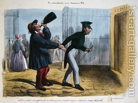 Discovery of Contreband at the Customs Barrier at the entry to Paris, c.1840 by Benjamin Roubaud - Reproduction Oil Painting