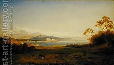 Bay and Harbour in Corfu, c.1842 by Carl Rottmann - Reproduction Oil Painting