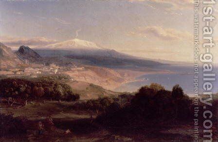 Taormina and Etna, c.1840 by Carl Rottmann - Reproduction Oil Painting