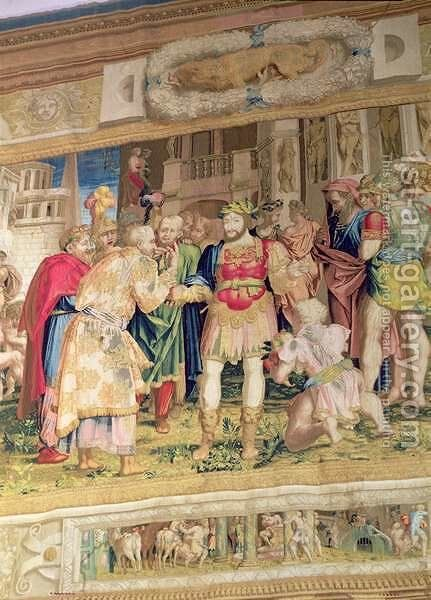 The Unification of the States, detail showing Francis I of France 1494-1547 by (after) Rosso, Giovanni Battista - Reproduction Oil Painting