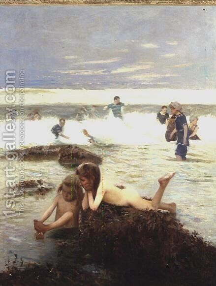 At The Seaside by Alexander M. Rossi - Reproduction Oil Painting