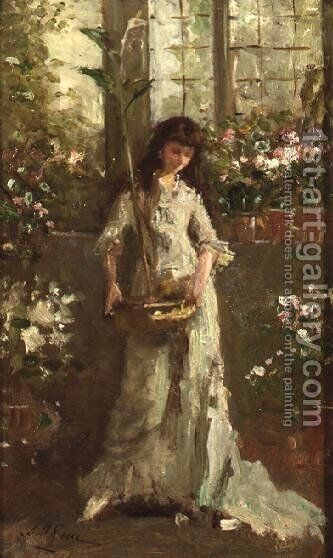 Girl in a Conservatory by Alexander M. Rossi - Reproduction Oil Painting