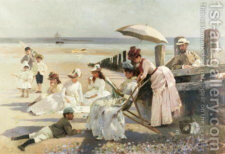 On the Shores of Bognor Regis - Portrait Group of the Harford Couple and their Children, 1887 by Alexander M. Rossi - Reproduction Oil Painting