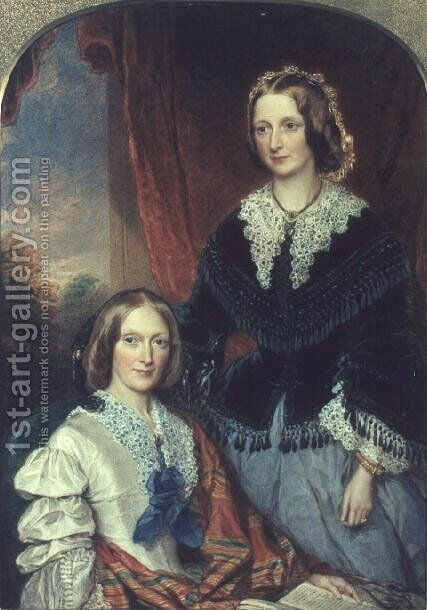 L to R Helen Shelley 1799-1885 and Margaret Shelley 1801-87 by Sir William Charles Ross - Reproduction Oil Painting