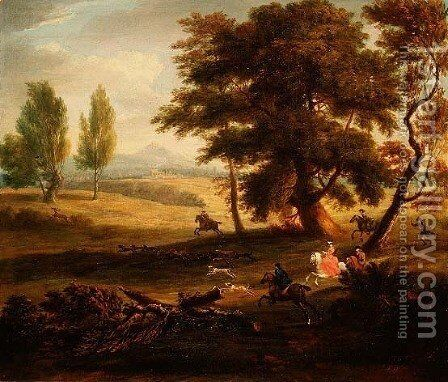 Hunting Party in an Extensive Landscape by James Ross - Reproduction Oil Painting