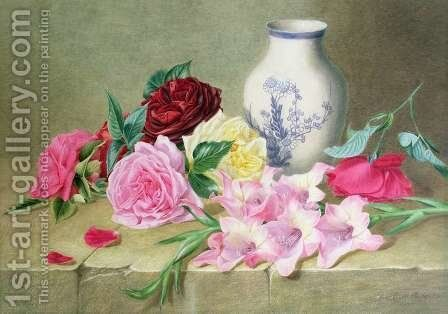 Still Life of Roses and Gladioli by Ellen Mary Rosenberg - Reproduction Oil Painting