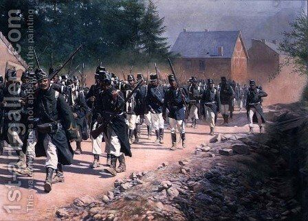 Belgian Infantry on the Move, 1906 by Jan Rosen - Reproduction Oil Painting