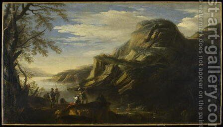 Rocky Landscape with Figures by Salvator Rosa - Reproduction Oil Painting