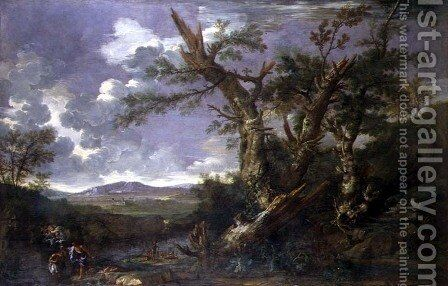 Landscape with the Baptism in the Jordan by Salvator Rosa - Reproduction Oil Painting