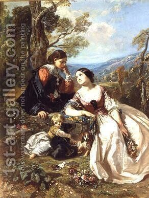 A Sentimental Conversation, 1843 by Camille-Joseph-Etienne Roqueplan - Reproduction Oil Painting