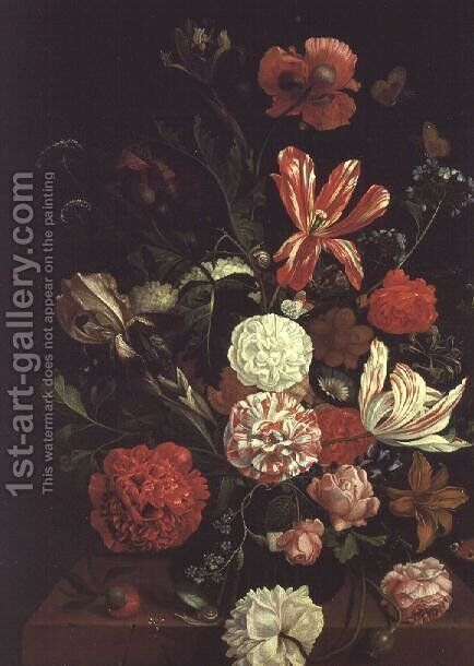 A Still Life of flowers in a glass vase by Jacob Rootius - Reproduction Oil Painting
