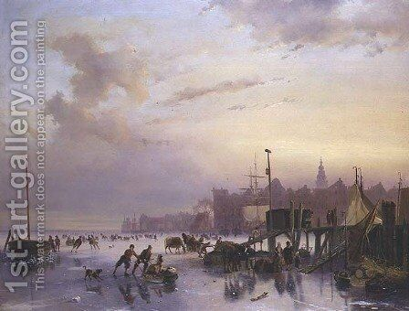 A winter river landscape with numerous skaters by Nicholas Jan Roosenboom - Reproduction Oil Painting