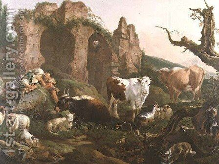 Lovers in a Classical Landscape with Animals by Johann Heinrich Roos - Reproduction Oil Painting