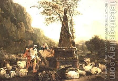 The Meeting of Jacob and Rachel at the Well by Johann Heinrich Roos - Reproduction Oil Painting