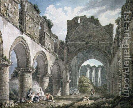 Buildwas Abbey, Shropshire by Michael Angelo Rooker - Reproduction Oil Painting