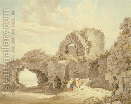 Ruins of Pevensey Castle by Michael Angelo Rooker - Reproduction Oil Painting