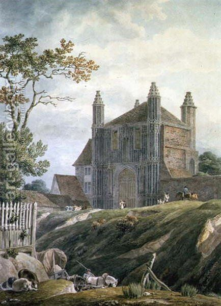 St. Johns Abbey Gate, Colchester by Michael Angelo Rooker - Reproduction Oil Painting