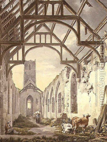 Dunwich Church by Michael Angelo Rooker - Reproduction Oil Painting