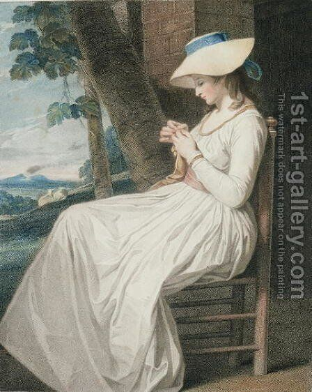 The Seamstress, engraved by Thomas Cheesman 1760-c.1834, pub. by John and Josiah Boydell, 1787 by (after) Romney, George - Reproduction Oil Painting