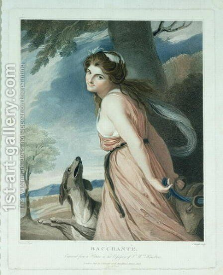 Bacchante, engraved and pub. by Charles Knight 1743-c.1826, 1797 by (after) Romney, George - Reproduction Oil Painting
