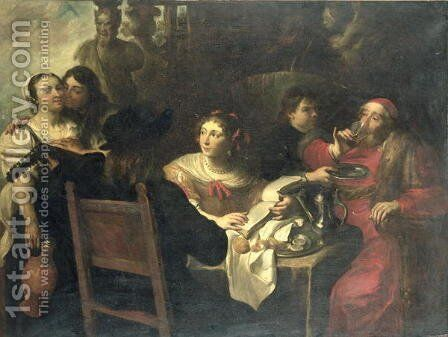 The Rich Mans Feast by (circle of) Rombouts, Theodor - Reproduction Oil Painting