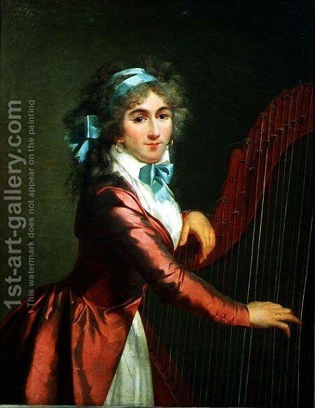 Portrait of a Young Harpist by Adele Romany - Reproduction Oil Painting