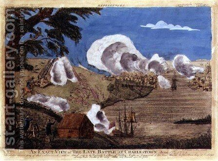 An exact view of the late Battle at Charlestown on 17th June 1775 by Bernard Romans - Reproduction Oil Painting