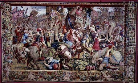 The Battle of Zama, by Giulio Romano 1492-1546 by Giulio Romano (Orbetto) - Reproduction Oil Painting