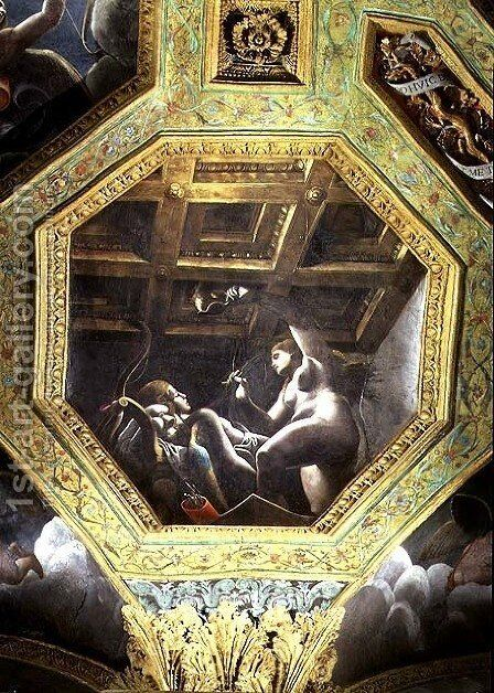 Psyche sees Cupid while he sleeps, ceiling caisson from the Sala di Amore e Psiche, 1528 by Giulio Romano (Orbetto) - Reproduction Oil Painting