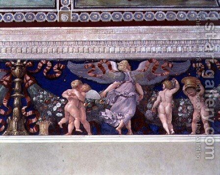 Frieze from the Camera con Fregio di Amorini Chamber of the Cupid Frieze detail of wrestling cupids, 1520s by Giulio Romano (Orbetto) - Reproduction Oil Painting