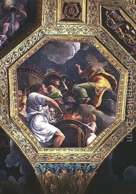 Scene of the sacrifice of a dove, ceiling caisson from the Sala di Amore e Psiche, 1528 by Giulio Romano (Orbetto) - Reproduction Oil Painting