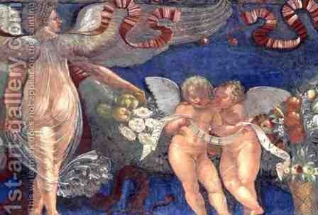 Frieze from the Camera con Fregio di Amorini Chamber of the Cupid Frieze detail of two putti and an angel, 1520s by Giulio Romano (Orbetto) - Reproduction Oil Painting