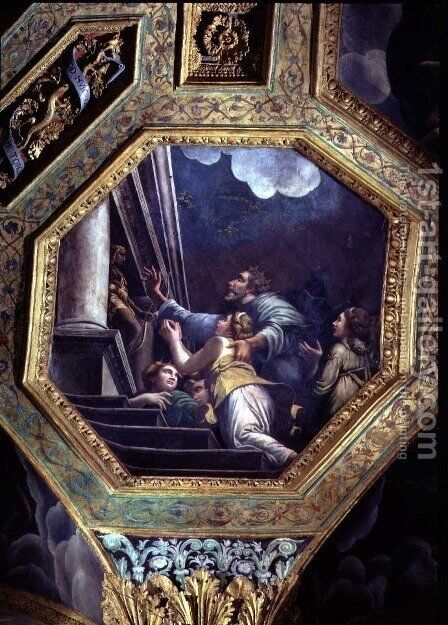 Supplicating figures on the steps of a great palace, ceiling caisson from the Sala di Amore e Psiche, 1528 by Giulio Romano (Orbetto) - Reproduction Oil Painting
